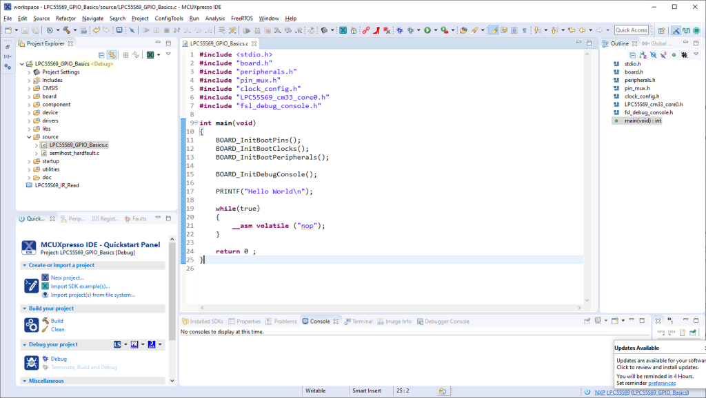 This image contains a screenshot of the IDE's main window in its default setup.