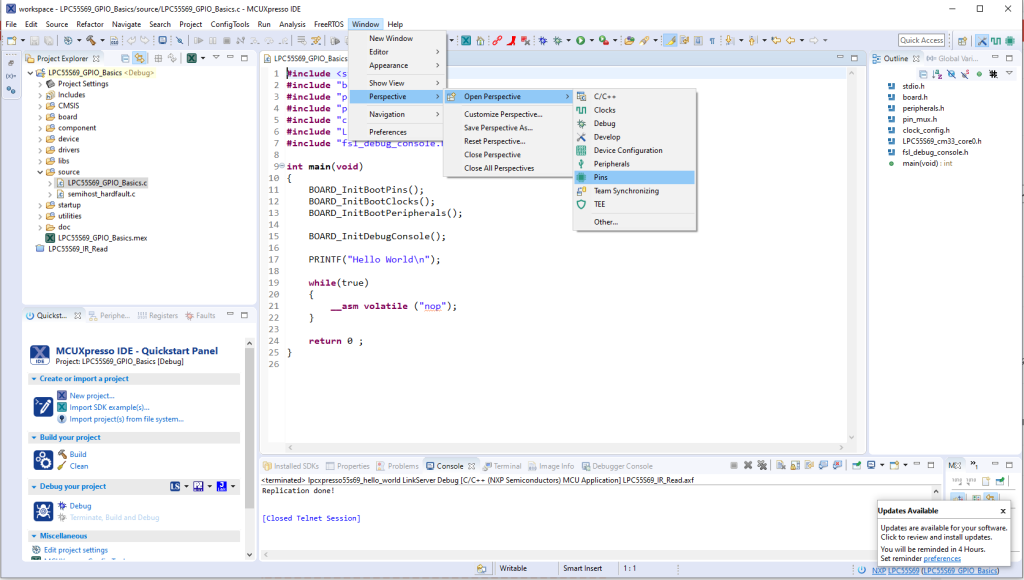 This image shows the IDE's main window with the pins menu item highlighted.