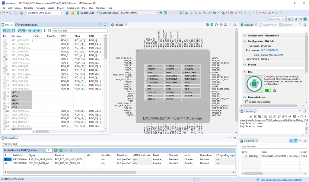 This image is an overview of the pins tool. On the left-hand side, there is a list of available pins. The center area displays the MCU. The bottom half of the image contains a list of already routed pins.
